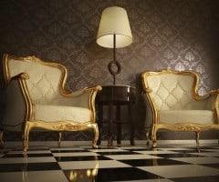 Poltrone decorate in foglia oro