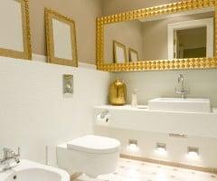 Specchiera bagno in foglia oro